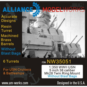 [NW35051] 1:350 WWII USN 5 inch 38 Caliber Mk28 Twin Mount without Blast Bags